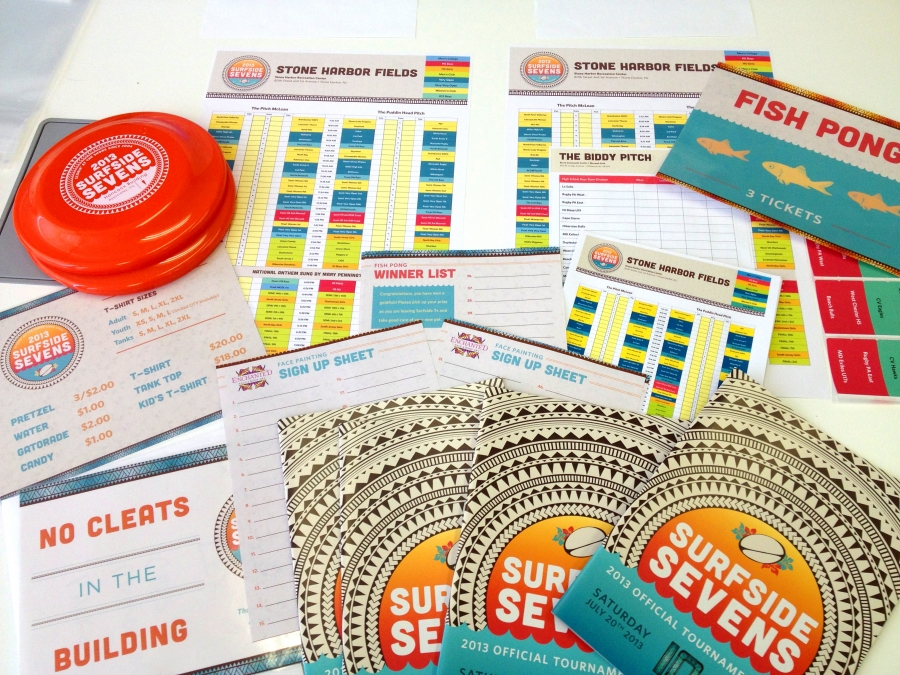 Surfside Sevens website, T-shirts, posters, hats, pint glasses, banners, Frisbees and even beach balls