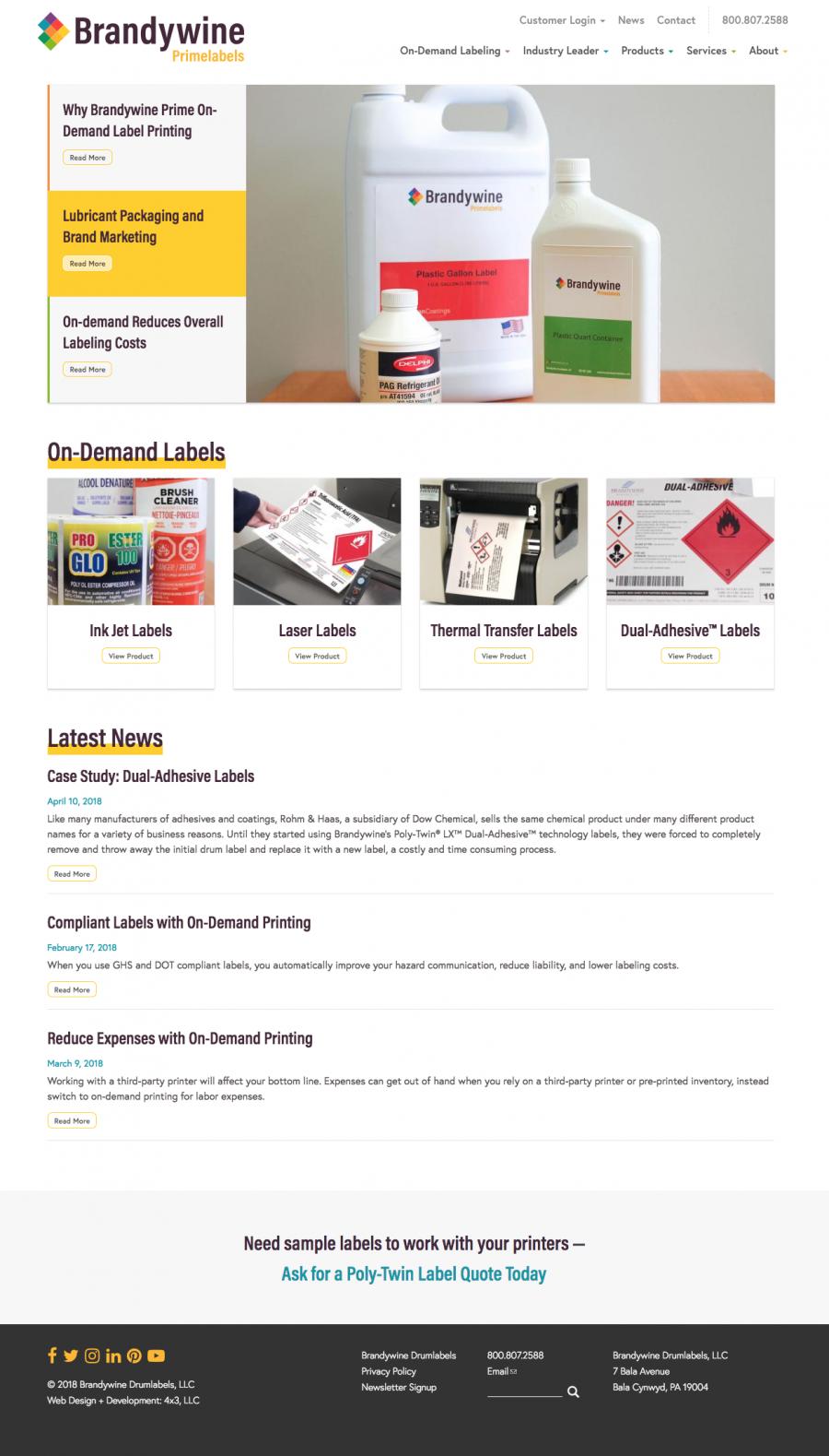 Brandywine Primelabels Homepage Design