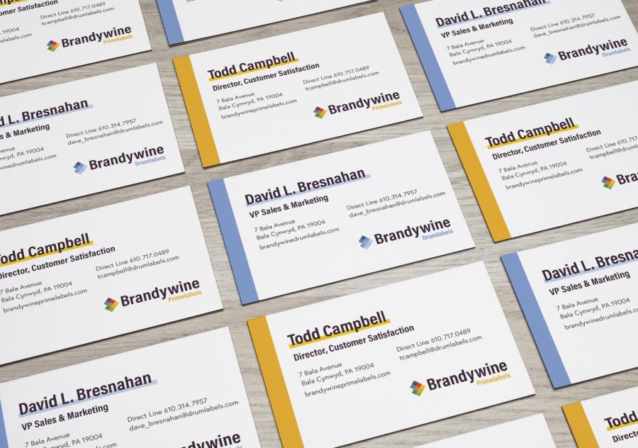 Drumlabels and Primelabels business card designs
