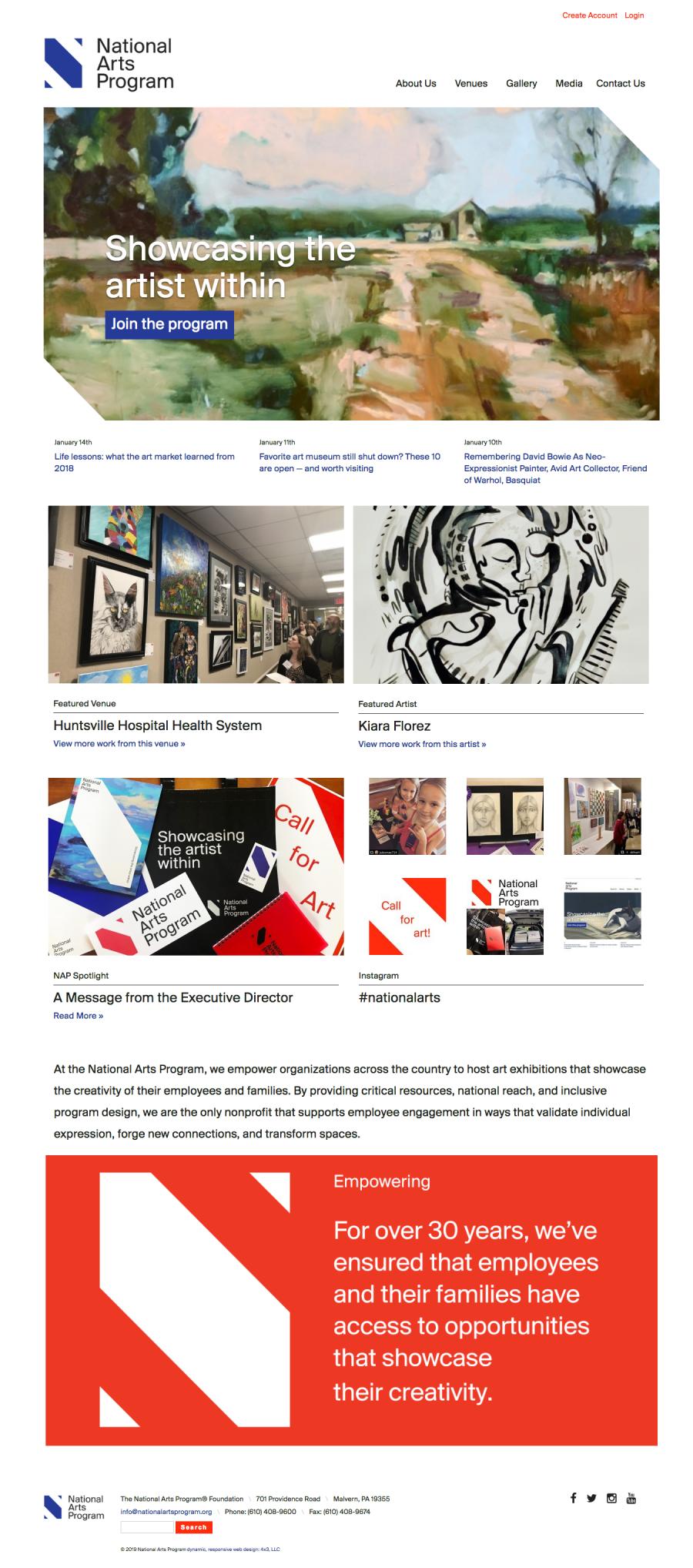 National Arts Program Website Home Page
