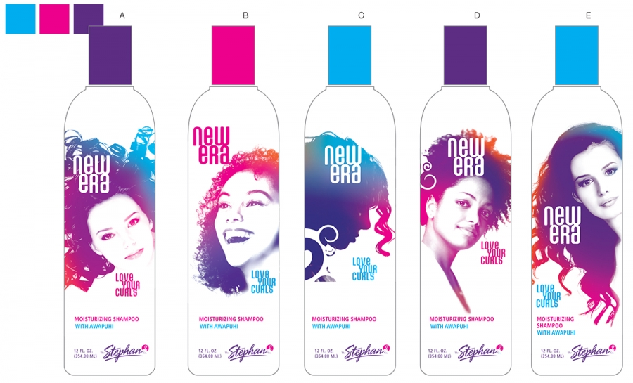 bottle study and color palette for New Era product packaging