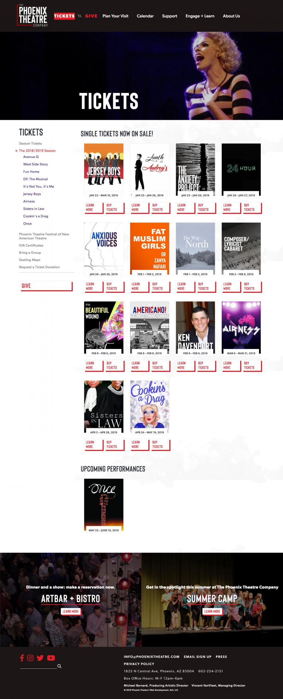 Phoenix Theatre Internal Ticket Page, Sales Landing Page